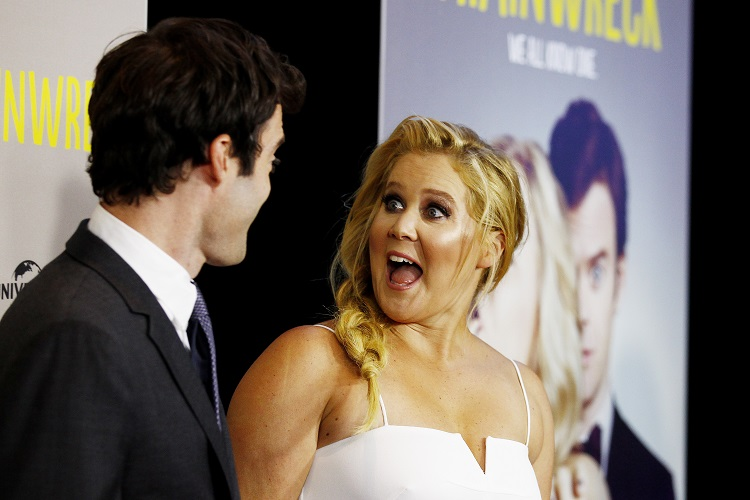 Amy Schumer and Bill Hader walk the red carpet at the Australian premier of Trainwreck in Sydney, Monday, July 20, 2015. (AAP Image/Nikki Short) NO ARCHIVING