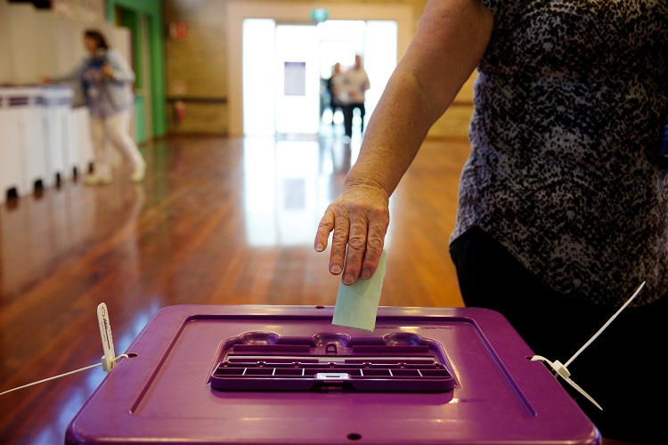 Voters posting their votes at Byford North polling station on election day during the Canning by election, Western Australia, Byford, Western Australia, Saturday Sept. 19, 2015. (AAP Image/Richard Wainwright) NO ARCHIVING