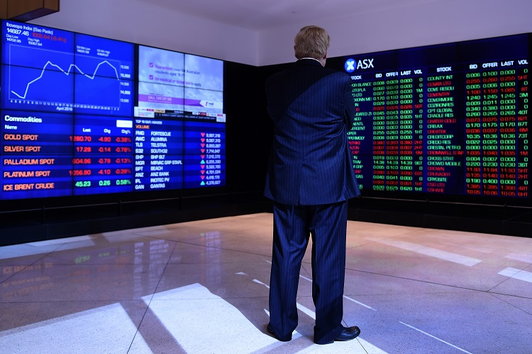 The information boards at the Australian Stock Exchange (ASX) show the market down more than 1% in Sydney, Wednesday, May 4, 2016. (AAP Image/Dean Lewins) NO ARCHIVING