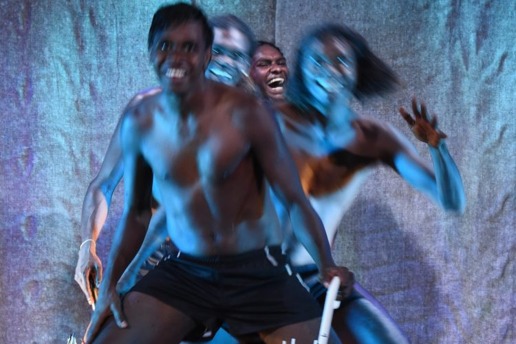 'Djuki Mala' performers, Indigenous dancers from Elcho Island in East Arnhem Land, perform a high-energy fusion of traditional Indigenous culture, contemporary dance and storytelling in the Magic Mirrors Spiegeltent as part of the Sydney Festival in Sydney, Tuesday, Jan. 19, 2016. (AAP Image/Dean Lewins) NO ARCHIVING