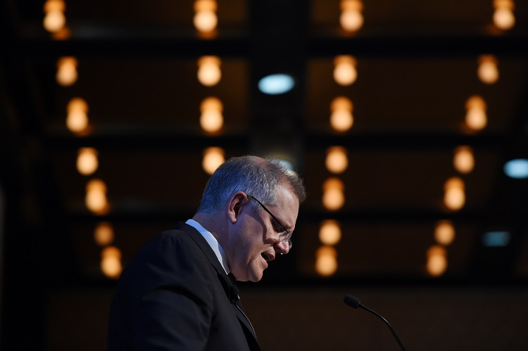 Australian Federal Treasurer Scott Morrison delivers the keynote address at The Tax Institute breakfast in Sydney, Thursday, May 5, 2016. The Treasurer delivered his first budget on Tuesday, as the government head into an 8 week election campaign. (AAP Image/Dean Lewins) NO ARCHIVING