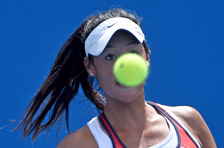 Priscilla Hon of Australia, pictured, during her match against Annika Beck of Germany in the first round match on day two of the Australian Open tennis tournament in Melbourne, Australia, on Tuesday, Jan. 19, 2016. The Australian Open tennis tournament will go from the 18th of January until the 31st of January 2016 and is Australia's foremost annual tennis event. (AAP Image/Joe Castro) NO ARCHIVING, EDITORIAL USE ONLY