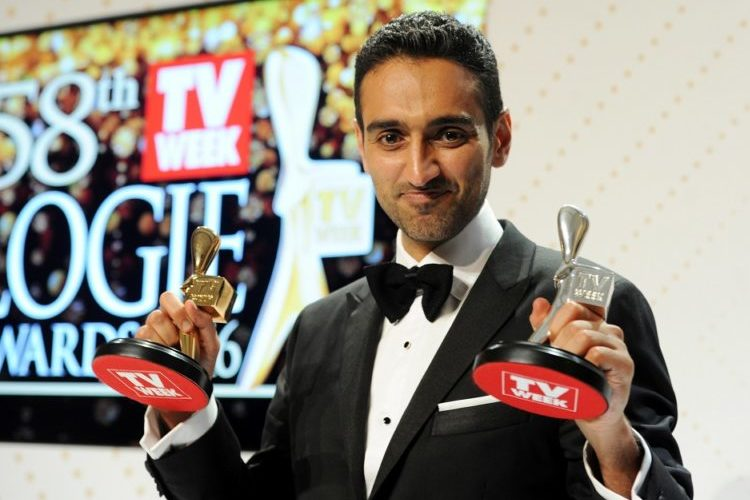 Gold Logie winner Waleed Aly with his gold and silver Logies after the 2016 Logie Awards at the Crown Casino in Melbourne, Sunday, May 8, 2016. (AAP Image/Joe Castro) NO ARCHIVING