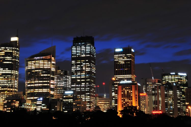 The Sydney Central Business District skyline is seen in a timed photographic exposure, in Sydney, Friday, Oct. 30, 2015. (AAP Image/Sam Mooy) NO ARCHIVING