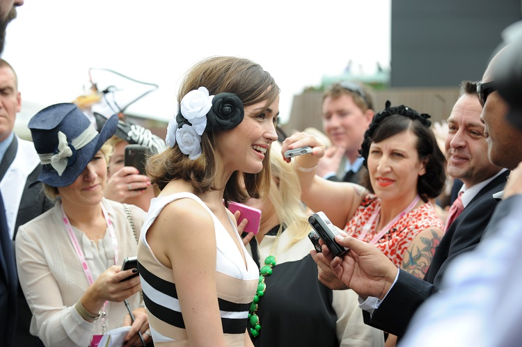 Australian actor Rose Byrne at the Lexus marquee in the birdcage during Melbourne Cup day at Flemington racetrack in Melbourne on Tuesday, Nov. 6, 2012. The $6 million Melbourne Cup is the highlight of the Spring Carnival. (AAP Image/Tracey Nearmy) NO ARCHIVING
