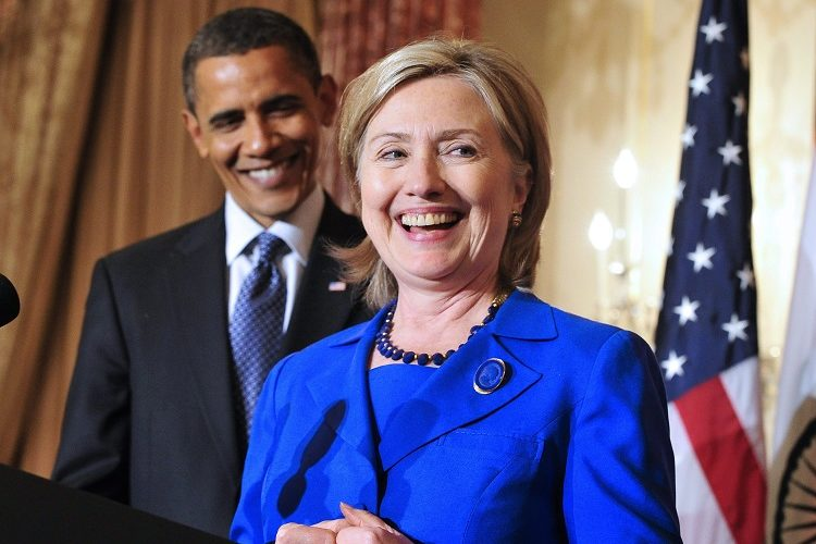 epa05353757 (FILES) A file picture dated 03 June 2010 shows US President Barack Obama (L) looks on as then US Secretary of State Hillary Rodham Clinton (R), makes remarks at a reception in honor of Foreign Minister S.M. Krishna of India (not pictured) at the State Department in Washington, DC, USA. US President Barack Obama has officialy endorsed US Democratic Party Presidential candidate and former Secretary of State Hillary Clinton for president in a prerecorded video released by the Clinton campaign on 09 June 2016. EPA/RON SACHS / POOL *** Local Caption *** 02185889