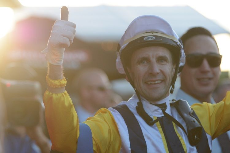 Jockey Leith Innes returns to scale aboard Provocative after winning race ten the Treasury Casino & Hotel Queensland Oaks during Stradbroke Day at Eagle Farm Racecourse in Brisbane, Saturday, June 11, 2016. (AAP Image/John Pryke) NO ARCHIVING, EDITORIAL USE ONLY