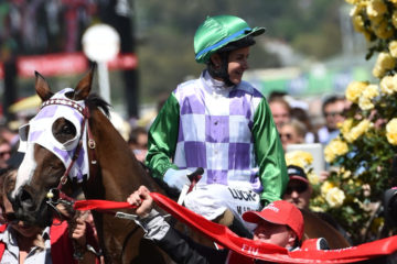Jockey Michelle Payne (centre) and her brother Steven celebrate as she returns to the mounting yard after she rode Prince of Penzance to victory in the Melbourne Cup at Flemington Racecourse in Melbourne, Tuesday, Nov. 3, 2015. (AAP Image/Julian Smith) NO ARCHIVING, EDITORIAL USE ONLY