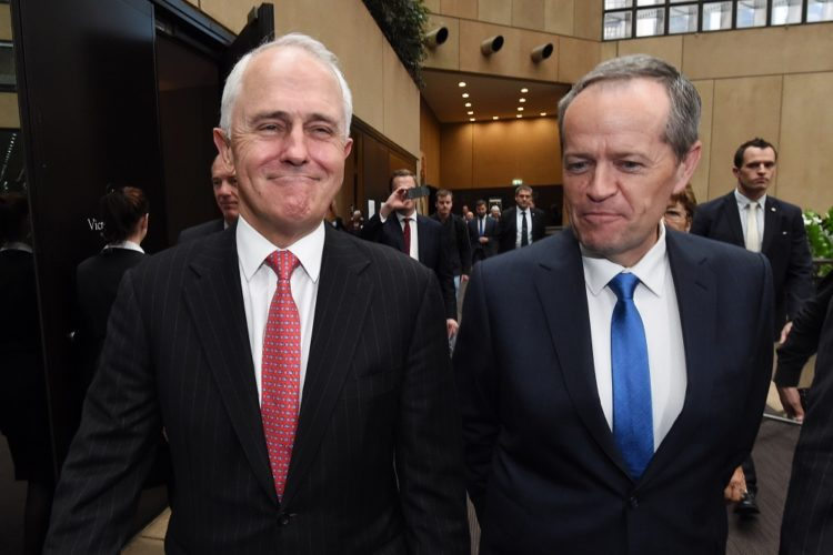 Australian Prime Minister Malcolm Turnbull and Leader of the Opposition Bill Shorten leave an RSL Centenary gathering in Melbourne, Monday, June 6, 2016. The RSL has called for bipartisan support for a plan to re-establish a national centre for military and veteran health. (AAP Image/Mick Tsikas) NO ARCHIVING